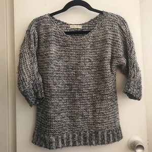 Blue and White Marled Knit Sweater